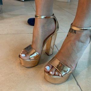 Metallic rose gold chunky heel